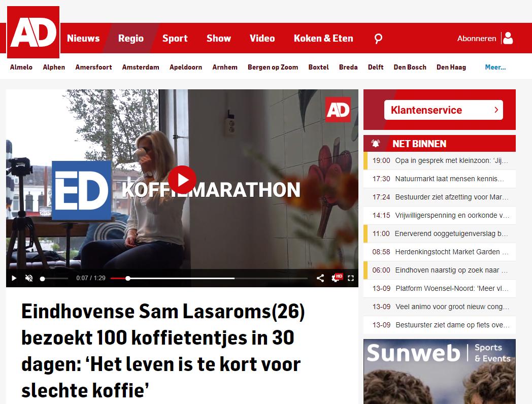 Interview met Algemeen Dagblad over de koffiemarathon