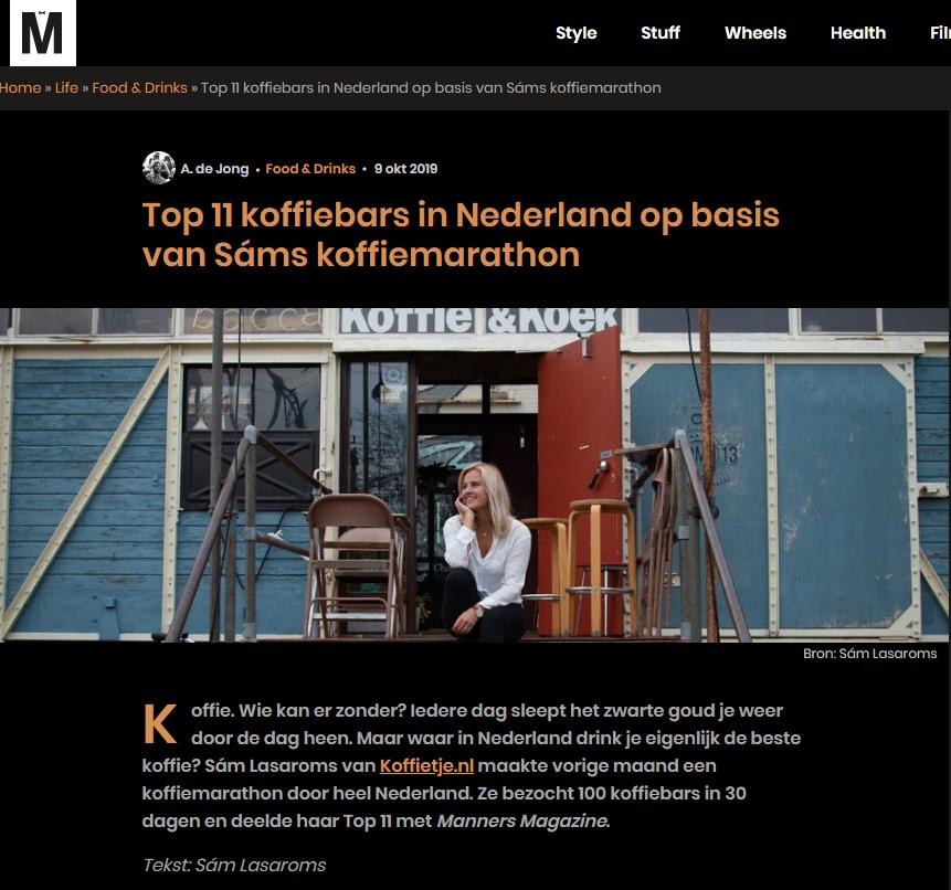 Top 11 koffiebars van Nederland op Manners.nl