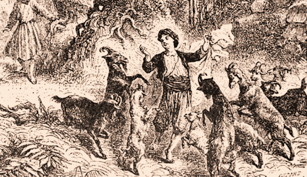 Kaldi omringd door dansende geiten
