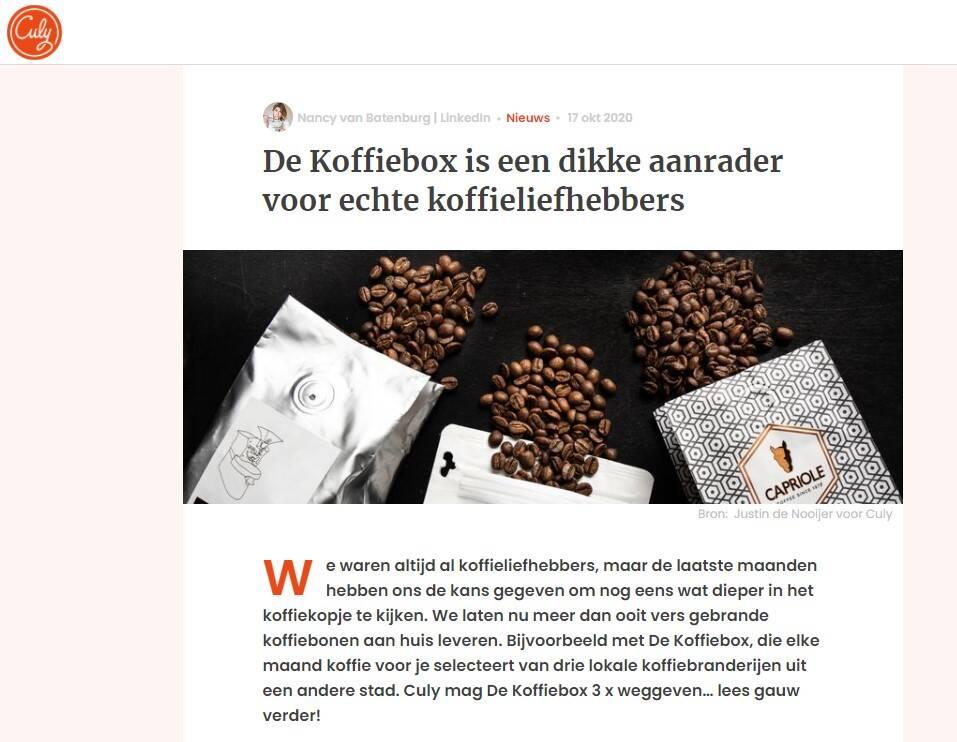 Vermelding Koffiebox op Culy.nl