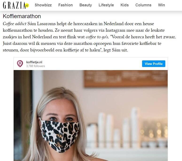 Vermelding over de Koffiemarathon op Grazia.nl