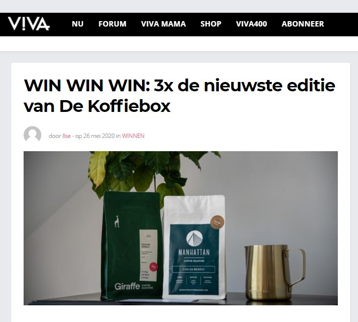 Winactie Koffiebox in samenwerking met VIVA