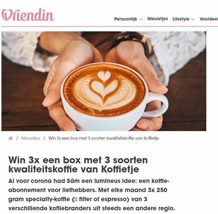 Winactie Koffiebox in samenwerking met Vriendin.nl
